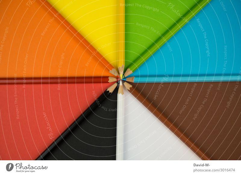 Muster und Struktur Schule lernen Kunst Kunstwerk Gemälde blau braun mehrfarbig gelb grün orange rot schwarz weiß Schreibstift Farbstift Stern (Symbol)