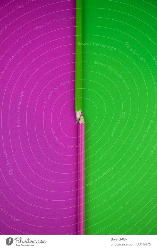 Buntstifte - links und rechts - grün und violett - zwei Seiten Stifte bunt Farben Paar Teilung Trennung Platzhalter Kunst Kreativität