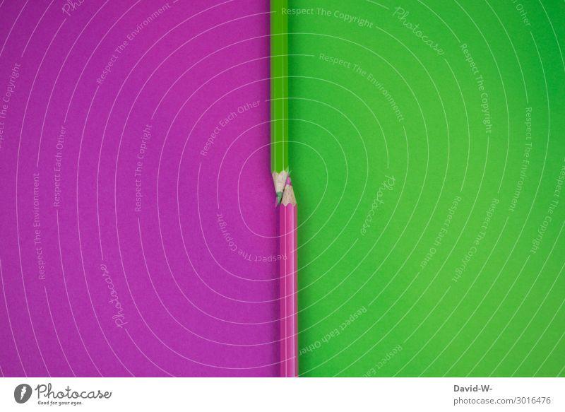 links oder rechts elegant Stil Design Freude Bildung Kindergarten Schule lernen Kunst Denken Seite Buchseite grün violett mehrfarbig Farbstift Entscheidung