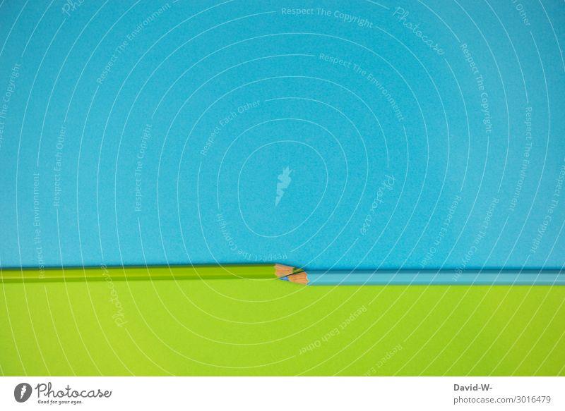 Textfreiraum auf blau und grün elegant Stil Design Bildung Kindergarten Schule lernen Kunst Platzhalter Hintergrundbild Schreibstift mehrfarbig Farbstift groß