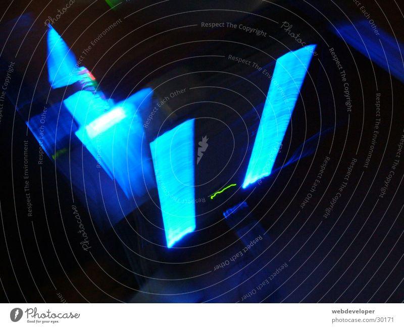 Modding PC at night Computer Licht Neonlicht verwaschen Nacht dunkel Elektrisches Gerät Technik & Technologie light hell modded blau blue Unschärfe
