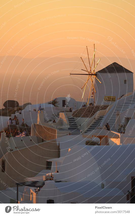 Santorin V Ferien & Urlaub & Reisen Sommer schön Landschaft Meer Haus Ferne Lifestyle Gefühle Tourismus orange Stimmung Häusliches Leben träumen ästhetisch