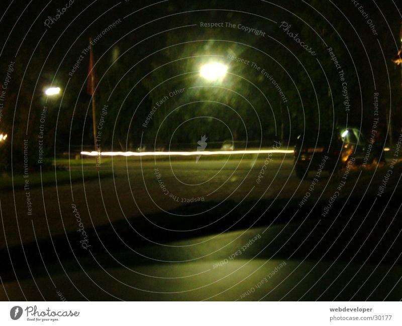 Highway 2 Hell [2] Straße Lampe dunkel Bewegung Geschwindigkeit Laterne verwaschen