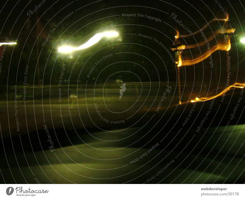 Highway 2 Hell [3] Straße Lampe dunkel Bewegung Geschwindigkeit Laterne verwaschen