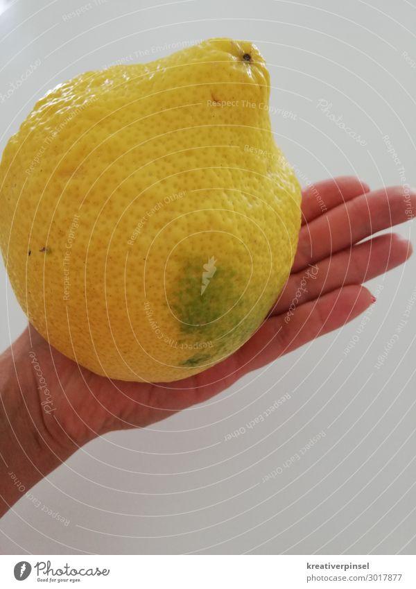 Sauer macht lustig Hand gelb Frucht Finger Zitrone sauer