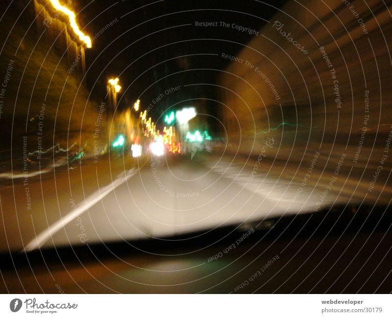 Highway to Hell [2] Straße Lampe dunkel Bewegung Geschwindigkeit verwaschen