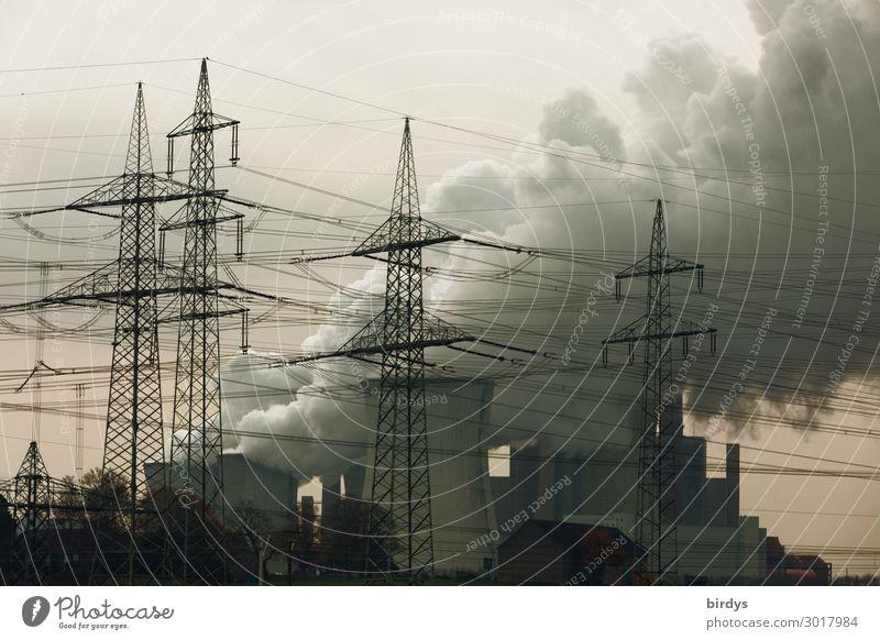 Mittelalterliche Energiegewinnung dunkel Deutschland Textfreiraum Energiewirtschaft bedrohlich Abgas Strommast Klimawandel Umweltverschmutzung