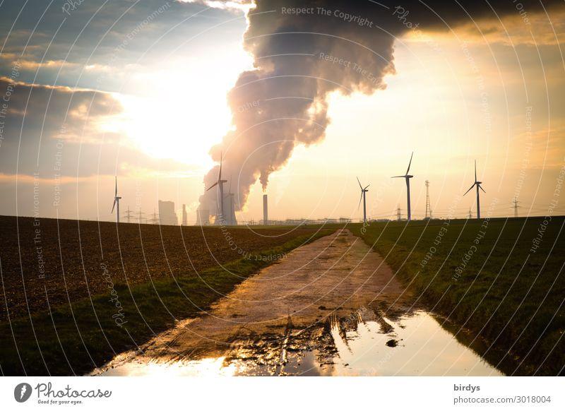 Energie und Klimawandel Energiewirtschaft Erneuerbare Energie Windkraftanlage Kohlekraftwerk Himmel Wolken Sonnenaufgang Sonnenuntergang Feld Wege & Pfade