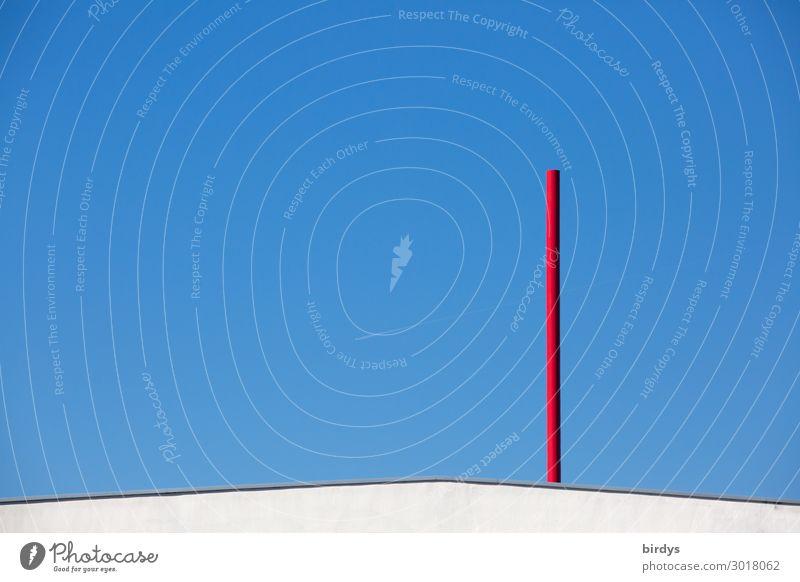 Anfang und Ende Wolkenloser Himmel Schönes Wetter Zeichen Linie ästhetisch außergewöhnlich einzigartig blau rot weiß Design Idee Kunst Geometrie Farbfoto