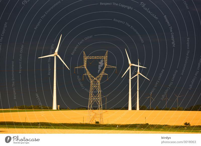 Windenergie Energiewirtschaft Erneuerbare Energie Windkraftanlage Gewitterwolken Sonnenlicht Sommer Getreide Getreidefeld Feld drehen authentisch