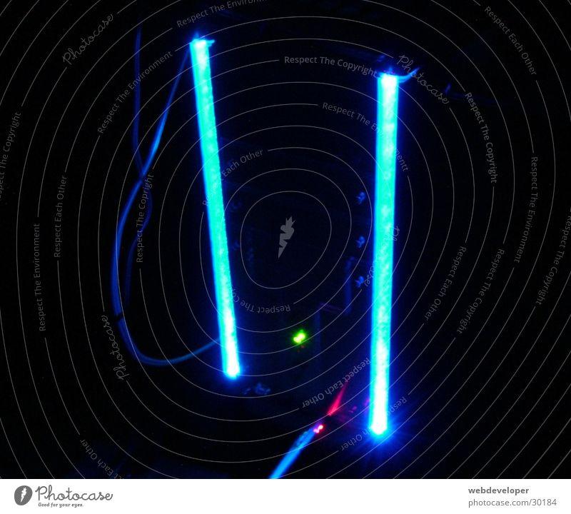Modded PC Neonlicht Licht dunkel Nacht grell Elektrisches Gerät Technik & Technologie Modding modded hell blau an