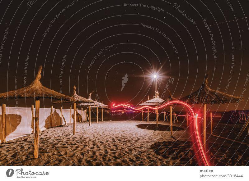 Strandspaziergang Sand Himmel Stern Horizont Frühling Schönes Wetter Küste Menschenleer leuchten braun rot weiß Wetterschutz Sonnenschirm Windschutz Lampe