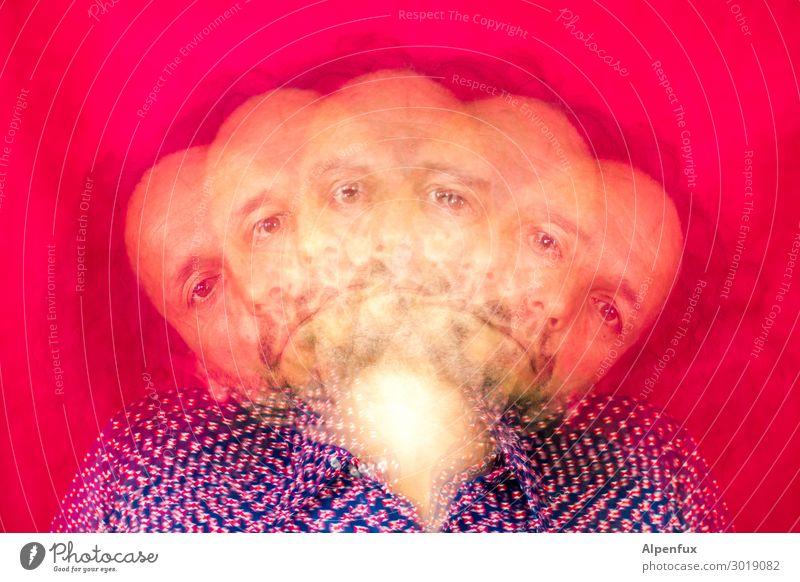 Multitasking Wahnsinn chaotisch verrückt bizarr Mann maskulin Chaot übertreiben Stress Fächer Kopf