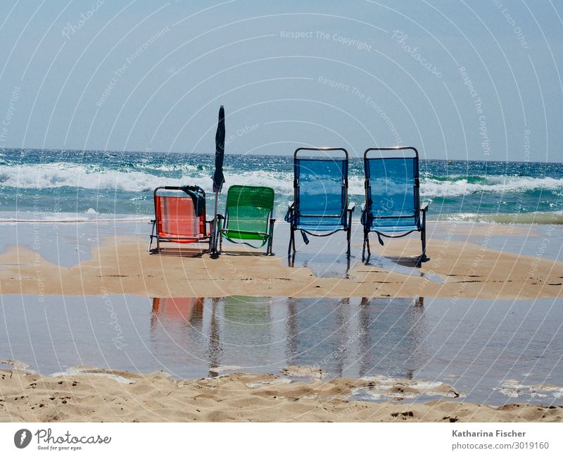 #400# / 4er family day Natur Wasser Himmel Frühling Sommer Schönes Wetter Wellen Küste Strand Meer Atlantik blau grün orange türkis weiß