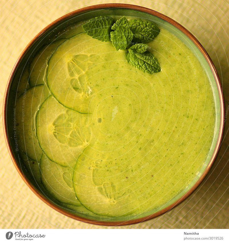 Gurken-Minzsuppe Lebensmittel Suppe Eintopf Ernährung Essen Mittagessen Bioprodukte Vegetarische Ernährung Diät Schalen & Schüsseln frisch Gesundheit lecker