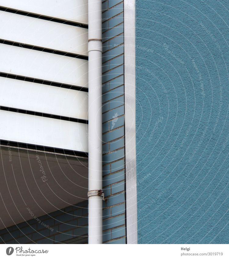 Fassade eines Hauses mit blauer Wand, weißer Balkonverkleitung und weißem Fallrohr Mauer Holz Metall Kunststoff Linie ästhetisch authentisch außergewöhnlich