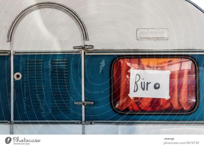 Büro (provisorisch) Ferien & Urlaub & Reisen Tourismus außergewöhnlich Schriftzeichen Schilder & Markierungen skurril Problemlösung Wohnwagen