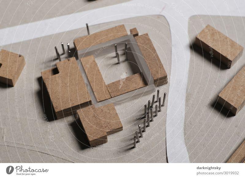 Architektur Modell Foto Stadt Stadtzentrum Menschenleer Haus Bankgebäude Industrieanlage Rathaus Bauwerk Gebäude Architekturmodell ästhetisch authentisch