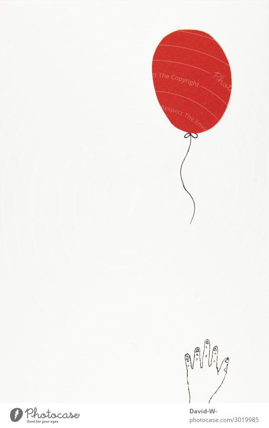 luftig und gleich verschwunden Lifestyle Stil Spielen Jahrmarkt Hochzeit Mensch Kind Junge Kindheit Leben Hand Finger 1 Kunst fliegen Freude Luftballon rot
