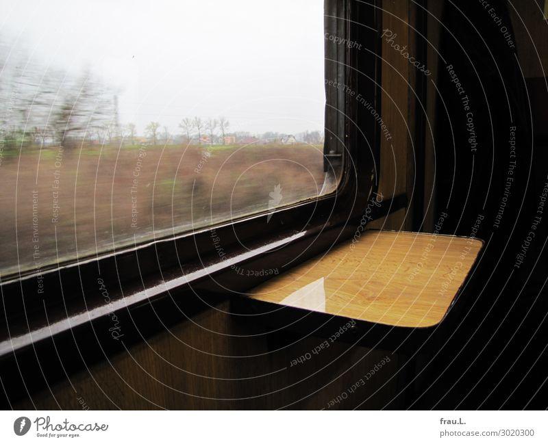 Polnische Eisenbahn Ferien & Urlaub & Reisen Baum ruhig Winter Fenster schwarz Wiese Tourismus braun Ausflug Verkehr genießen Güterverkehr & Logistik nachhaltig