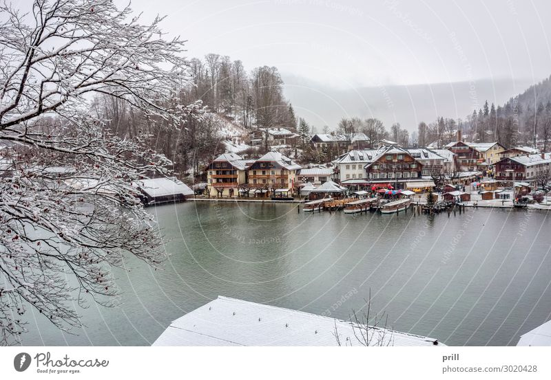 Schoenau am Koenigssee Winter Berge u. Gebirge Wasser Wald Hügel Alpen Küste See Stadt Hafen Wasserfahrzeug kalt schoenau am koenigssee schönau am königssee