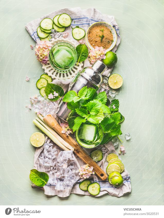 Grüne Zutaten für Sommer Getränke Lebensmittel Frucht Kräuter & Gewürze Ernährung Bioprodukte Erfrischungsgetränk Trinkwasser Limonade Saft Longdrink Cocktail