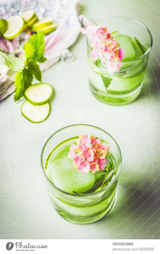 Glas grünes Gurken Rosmarin Getränk Lebensmittel Erfrischungsgetränk Trinkwasser Limonade Saft Design Gesundheit Gesunde Ernährung Sommer Bar Cocktailbar Natur