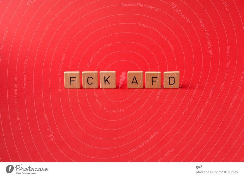 FCK AFD rot Holz Deutschland Schriftzeichen bedrohlich Gesellschaft (Soziologie) Politik & Staat Toleranz Mitgefühl Gastfreundschaft Solidarität widersetzen