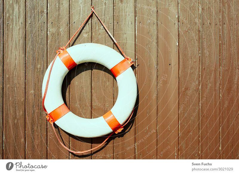 Rettungsring an einer braunen Holzwand Leben Meer Seil Wasser Gürtel rund rot weiß Sicherheit Schutz Überleben reifen retten Notfall Retter rettungsschwimmer