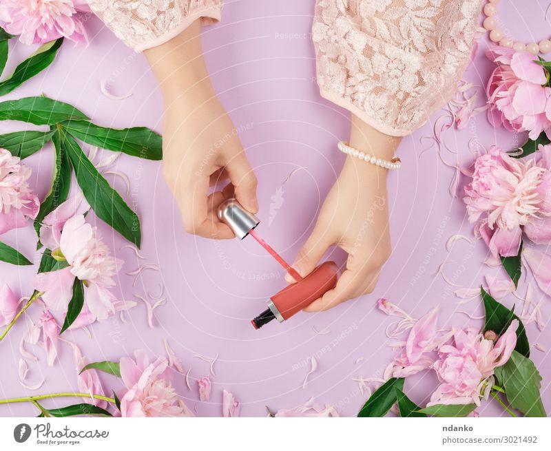 weibliche Hände mit glatter, heller Haut halten den flüssigen, roten Lippenstift. elegant Stil schön Kosmetik Schminke Wellness feminin Frau Erwachsene Arme