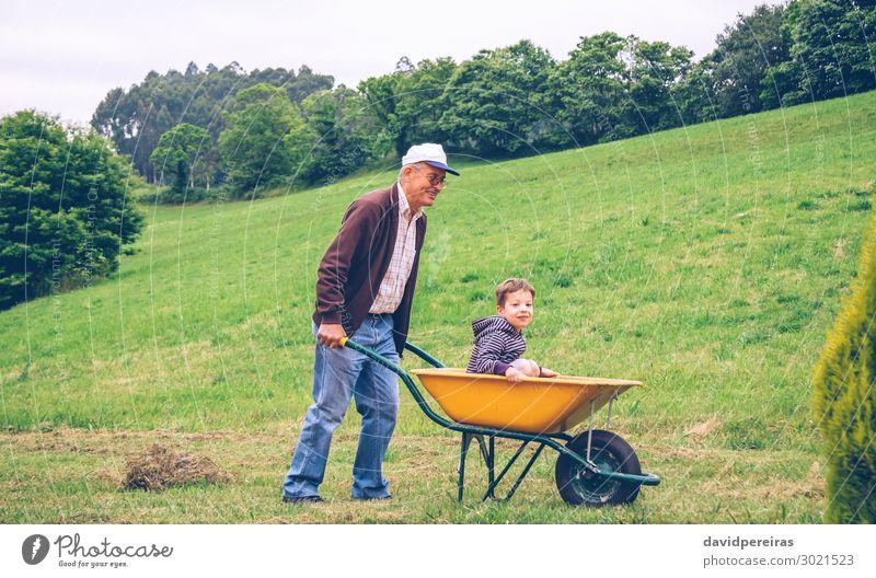 Senior Mann, der Heu mit Heugabel auf dem Feld reibt. Lifestyle Freude Glück Freizeit & Hobby Spielen Sommer Garten Kind Gartenarbeit Mensch Junge Erwachsene