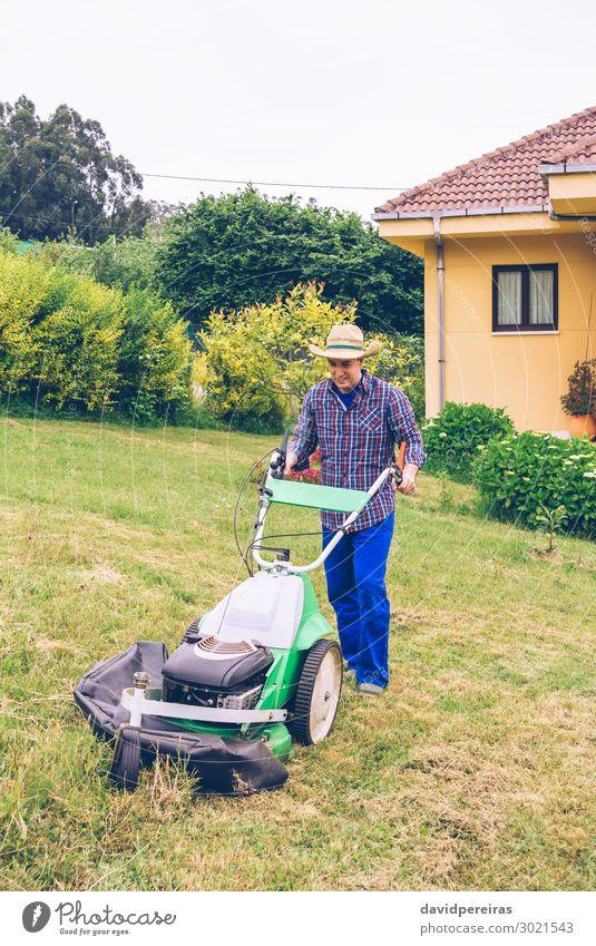 Junger Mann mäht den Rasen mit dem Rasenmäher. Sommer Haus Garten Arbeit & Erwerbstätigkeit Beruf Gartenarbeit Werkzeug Motor Technik & Technologie Mensch