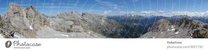 Panorama der Latemargruppe in den Dolomiten Landschaft Himmel Wolken Schönes Wetter Felsen Alpen Berge u. Gebirge Latemarspitze Cima Valsorda Gipfel Hochgebirge