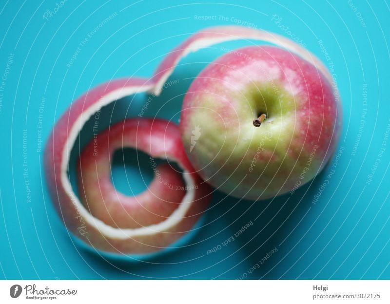 rot-grüner Apfel mit gekringelter Schale liegt auf türkisfarbenem  Untergrund Lebensmittel Frucht Apfelschale Apfelstiel Vegetarische Ernährung liegen