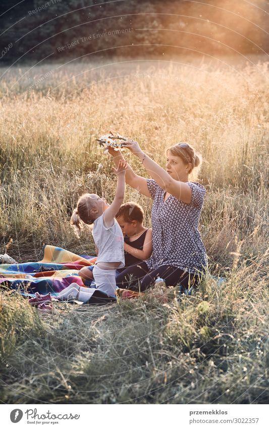Familie verbringt Zeit zusammen auf einer Wiese Lifestyle Freude Glück Erholung Freizeit & Hobby Spielen Ferien & Urlaub & Reisen Sommer Sommerurlaub Kind
