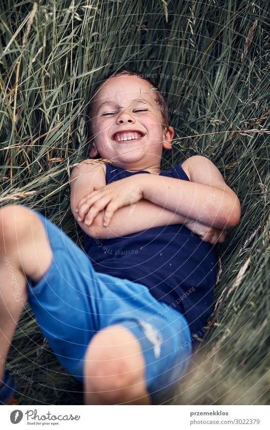 Kleiner glücklicher lächelnder Junge, der in einem hohen Gras spielt. Lifestyle Freude Glück Erholung Ferien & Urlaub & Reisen Sommer Sommerurlaub Kind Mensch 1