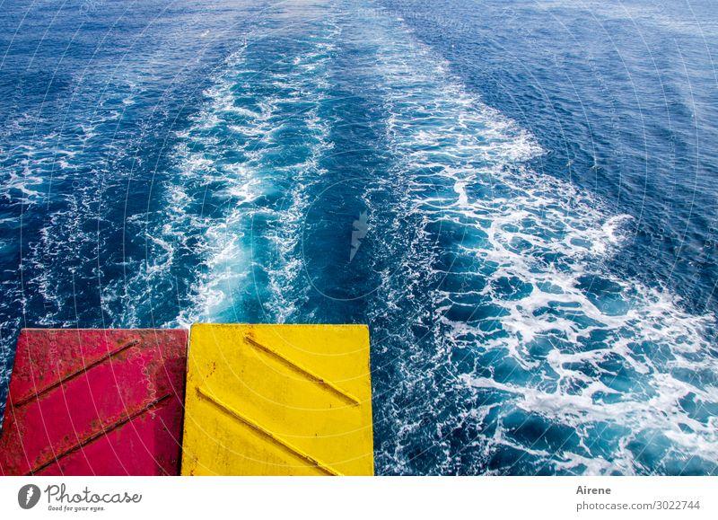 Klappe! Ferien & Urlaub & Reisen Ausflug Sommerurlaub Meer Gischt Schönes Wetter Wellen Kielwasser Schifffahrt Fähre Heckklappe Metall fahren Schwimmen & Baden