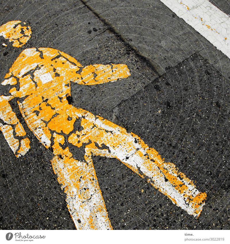 Auflösungserscheinungen | on the road again schwarz Straße gelb Wege & Pfade Bewegung Stein Design gehen Linie Verkehr Schilder & Markierungen Vergänglichkeit