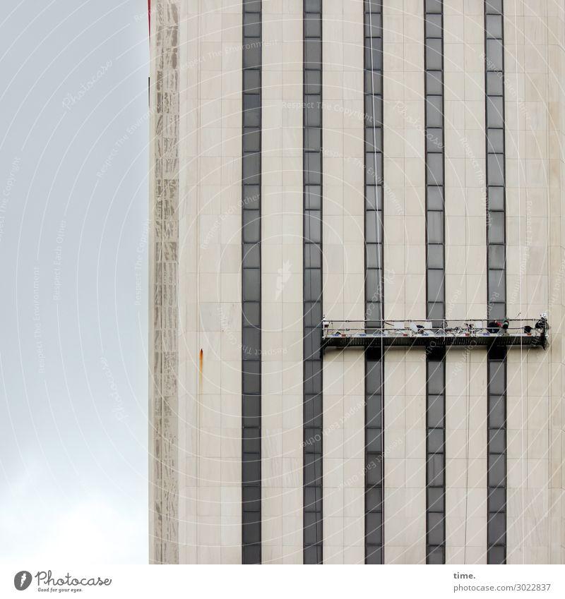 luftig | Fassade aufhübschen Ferne Fenster Business Arbeit & Erwerbstätigkeit Hochhaus Perspektive hoch Baustelle Sicherheit Zusammenhalt Glaube Risiko