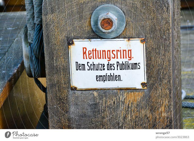 Empfehlung Schilder & Markierungen alt historisch maritim Originalität braun rot weiß Todesangst Rettung Irritation Rettungsring Emailleschild antik Hinweis