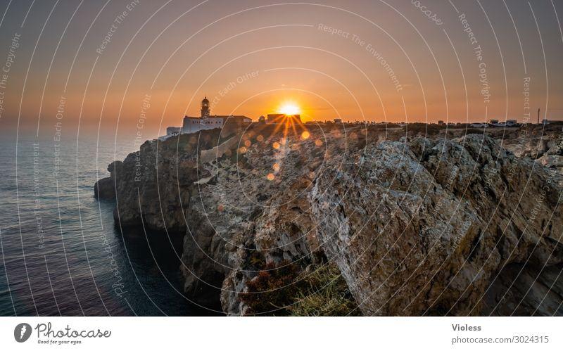 Sagres - End of Day Cabo Sao Vincente Sonnenuntergang Portugal Felsen Felsküste Ferien & Urlaub & Reisen Reisefotografie Sonnenstrahlen Algarve Leuchtturm