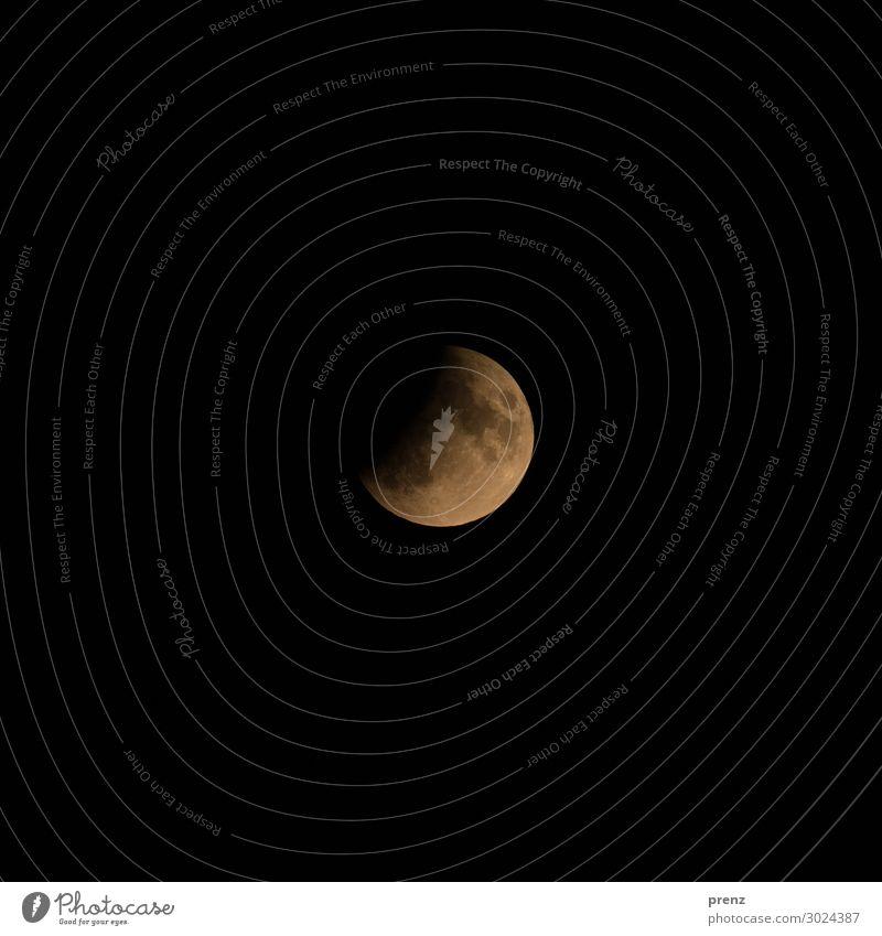 Partielle Mondfinsternis Umwelt Natur nur Himmel Wolkenloser Himmel Nachthimmel Vollmond Sommer Schönes Wetter orange schwarz Vulkankrater Farbfoto