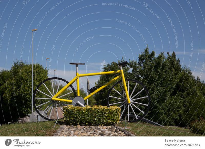 Tour de France Endspurt Himmel Ferien & Urlaub & Reisen Sommer Landschaft Sonne Straße gelb Umwelt Sport Tourismus Fahrrad Sträucher Schönes Wetter