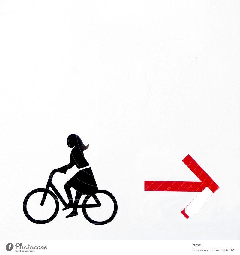 Autonomie & Entscheidung | on the road again feminin Frau Erwachsene 1 Mensch Mauer Wand Fahrradfahren Kleid langhaarig Stein Kunststoff Zeichen