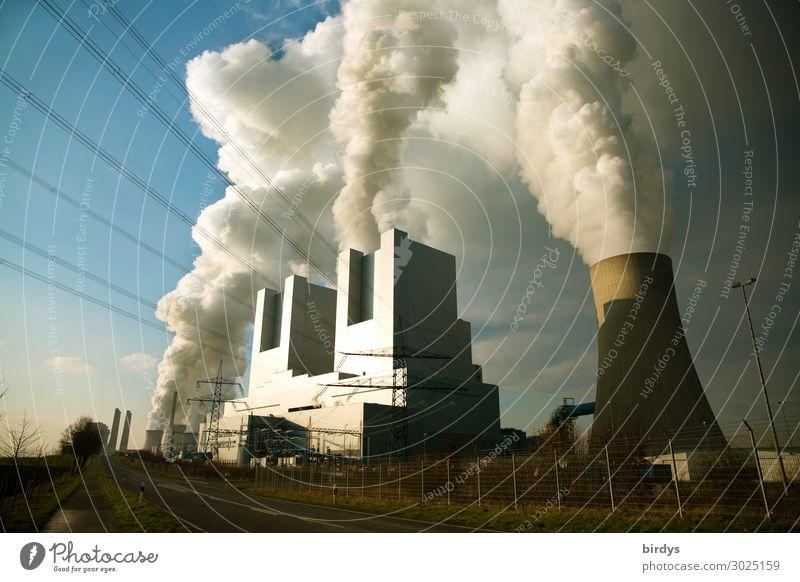 Braunkohlenkraftwerk Neurath in NRW Himmel dunkel Straße Deutschland Textfreiraum Energiewirtschaft bedrohlich Abgas Politik & Staat Klimawandel