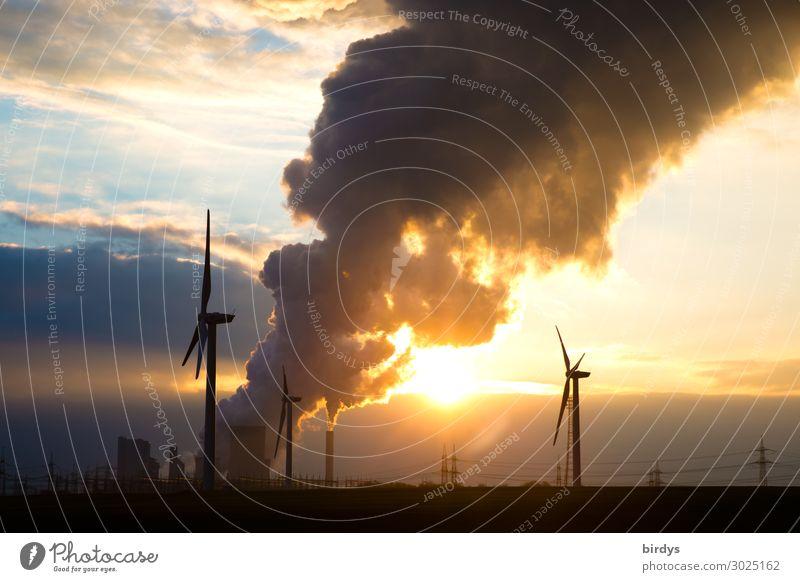Klimawandelbeschleuniger und Alternativen Energiewirtschaft Erneuerbare Energie Windkraftanlage Kohlekraftwerk Himmel Horizont Sonnenaufgang Sonnenuntergang
