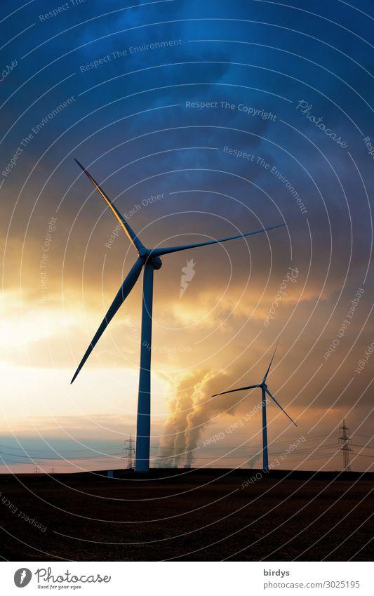 Windkraft und fossile Energie Energiewirtschaft Erneuerbare Energie Windkraftanlage Kohlekraftwerk Himmel Wolken Sonnenaufgang Sonnenuntergang Sonnenlicht