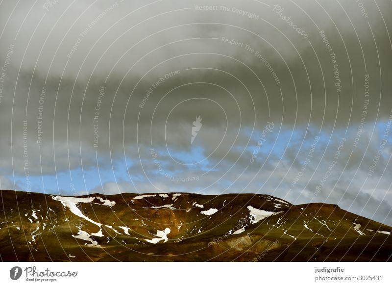 Island Umwelt Natur Landschaft Urelemente Himmel Wolken Klima Wetter Berge u. Gebirge Menschenleer dunkel natürlich wild Stimmung Abenteuer Einsamkeit