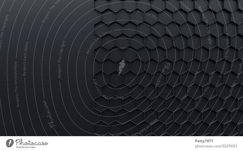 Hexagon Hintergrund - 3D Render Hintergrundbild Zeichen Ornament Sechseck Wabe Strukturen & Formen eckig Sauberkeit grau schwarz Netzwerk Symmetrie