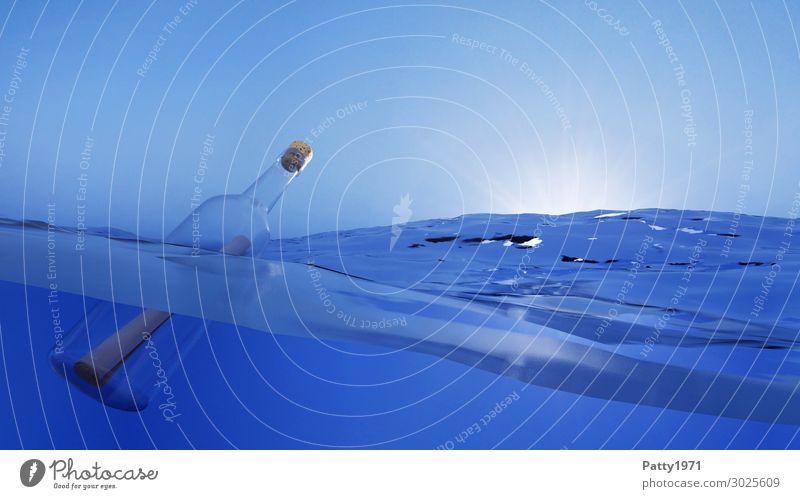 Flaschenpost - 3D Render Natur Wasser Wolkenloser Himmel Meer Schwimmen & Baden Unendlichkeit nass blau Abenteuer Bewegung Hoffnung Horizont Kommunizieren